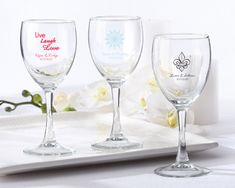 Here's to a vintage celebration! Feel free to swirl your favorite wine, fill with your favorite candy, or place a tea light inside to make your tables simply glow. An elegant look at a reasonable price. Personalized with your choice of design, your names and wedding date are the signature of elegance on this distinctive, and practical, wedding favor.