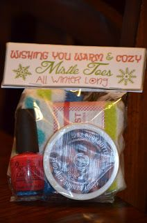 Wishing You Warm & Cozy Mistel Toes! Cozy socks, nail polish, lotion - cute teacher gift!