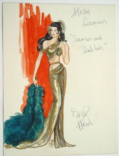 Edith Head Costumes | Edith Head Hedy Lamarr Costume Design Sketch : Lot 2300
