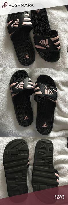 Pink Adidas Slides Pink Adidas Slides, size 9, barely worn adidas Shoes Sandals