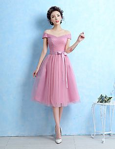 Tea-length Tulle Bridesmaid Dress - Ball Gown Off-the-shoulder with Sash / Ribbon / Side Draping
