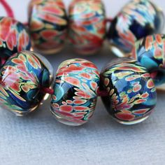 Dark Blue & Red Spots - Borosilicate Lampwork Beads