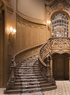 It's possible for you to modernize the appearance of wrought-iron stairs by making a number of essential changes that introduce some contemporary flair. As a patterned stair runner carpet is … House Staircase, Grand Staircase, Staircase Design, Staircase Ideas, Open Staircase, Spiral Staircases, Hallway Ideas, Beautiful Stairs, Beautiful Homes