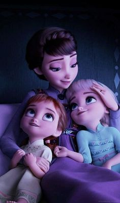 "Queen Iduna with little Anna and Elsa. ""The hand that rocks the cradle, rules the world."" From Frozen Disney Princess Pictures, Disney Princess Drawings, Disney Pictures, Disney Drawings, Frozen Disney, Princesa Disney Frozen, Frozen Two, Anna Frozen, Disney And Dreamworks"