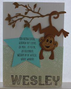 Gemaakt door Joke # Babykaart - Wesley geboren