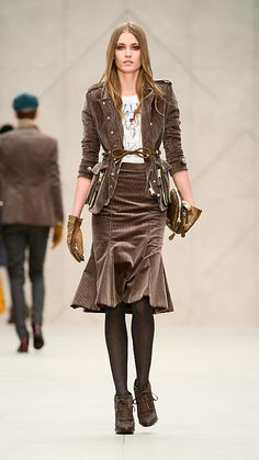 This is very cool.  Like the jacket with. Burberry - FLARED CORDUROY SKIRT