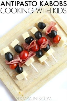 This Antipasta Skewer Kabab recipe is kid-friendly with it's lollipop stick skewers!  What a great idea for lunches or after-school snacks.  Part of the Cooking With Kids A-Z series. Healthy Afternoon Snacks, Healthy Snacks For Kids, Easy Snacks, Kid Snacks, Skewer Recipes, Gourmet Recipes, Healthy Recipes, Pasta Recipes, Cooking Recipes