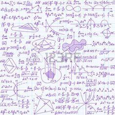 """Vector Matem�tica textura transparente con figuras, ecuaciones y c�lculos. Textura de matem�ticas sin fin """", escrita a mano en la hoja de papel cuaderno"""" photo"""