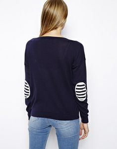 Image 2 of ASOS Sweater With Striped Elbow Patches
