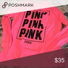 Pink campus tee Brand new pocket tee bright pink PINK Victoria's Secret Tops Tees - Long Sleeve