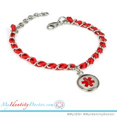 #MyIDDr Medical Charm Bracelet Engraved Red Silk and Steel Chain Red Symbol R2R-TJR  #1 Recommended engraving. Easy to see and read in times of emergency. Get a free ID card! Search for; My Identity Doctor Free Medical ID Wallet Card  #EMT #MedicalAlertBracelet #Incaseofemergency #BloodThinners
