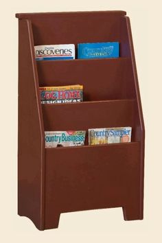 "Magazine Rack Large is handmade by the Amish.  Your piece will be built with Premium Grade Eastern White Pine wood.  You will see some deformities and knots that come naturally with eastern pine.  Measures: 19.25"" W x 35.50"" H x 11.25"" D Shown in Red."