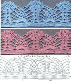 36 Best Ideas for crochet afghan borders simple Crochet Border Patterns, Crochet Boarders, Crochet Lace Edging, Crochet Diagram, Crochet Chart, Thread Crochet, Filet Crochet, Crochet Designs, Crochet Doilies