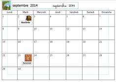 Calendrier à compléter 2014/2015 pour les CP - Véro à l'école