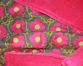 baby blanket--hot pink flowers and ultra soft hot pink