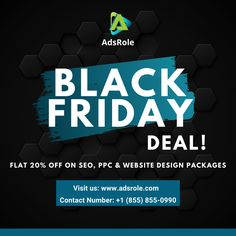 **BLACK FRIDAY DEAL** Get 20% OFF on SEO, PPC & WEB DESIGN Packages! from Nov 27 (Friday) to Nov 29 (Sunday) Visit www.adsrole.com #BlackFriday #AdsRole #OnlineMarketing #SEO #PPC #Sale Web Design Packages, Black Friday Deals, Online Marketing, Packaging Design, Seo, Sunday, Domingo, Design Packaging, Package Design