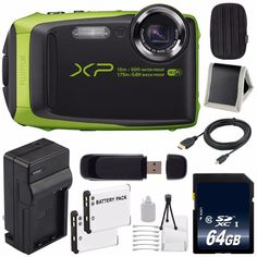 Fujifilm FinePix XP90 Digital Camera (Lime) (International Model) No Warranty + 64GB SDXC Class 10 Memory Card Bundle 9. Fujifilm FinePix XP90 Digital Camera (Lime). EN-EL10 Rechargeable Lithium Ion Replacement Battery. External Rapid Quick-Charger with Car Charger Attachment. 64GB SDXC Class 10 Secure Digital High Speed Memory Card. 6 Foot High Performance Micro HDMI Cable.