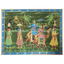 MUGHAL EMPEROR MINIATURE INDIAN ART HAND PAINTED HOME DECOR ROYAL PAINTING ON SILK