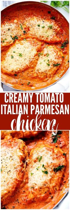 Italian Dishes: Creamy Tomato Italian Parmesan Chicken is a creamy red tomato parmesan sauce with delicious italian spices. The chicken gets smothered in melty parmesan cheese and will be one of the most delicious meals you eat! I Love Food, Good Food, Yummy Food, Turkey Recipes, Dinner Recipes, Dinner Ideas, Dinner Dishes, Cooking Recipes, Healthy Recipes