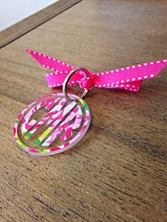 Lilly Pulitzer inspired Monogram Keychain by ShopCarlysCustoms, $9.00