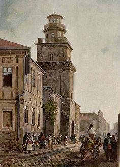 Turnul Colței la mijlocul secolului al XIX-lea.  Sursa: Boabe de grâu, septembrie 1932 Old City, Notre Dame, Country, Building, Dan, Travel, Bucharest, Old Town, Voyage