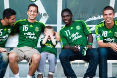 PORTLAND, OR - JULY 29: Portland Timbers players pose with fans at the Timbers Army Appreciation Barbeque at JELD-WEN Field on July 29, 2012 in Portland, Oregon. (L.M. Parr/Portland Timbers)