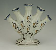 RARE ANTIQUE PEARLWARE QUINTAL FLOWER VASE c.1790
