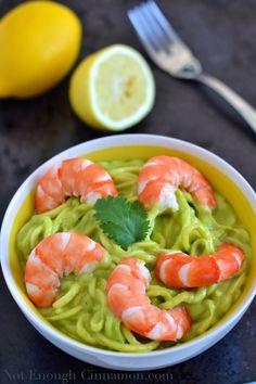 Zucchini Noodles with Creamy Avocado Sauce and Shrimp