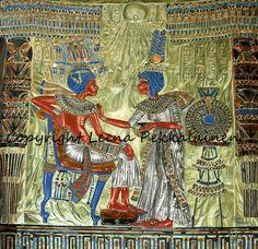 Ancient Egypt Art - Oil painting of Tutankhamon's Throne