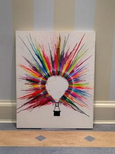 Hot Air Balloon Crayon Art by shauna day school project. Hot Air Balloon Crayon Art by shauna Cute Crafts, Crafts To Do, Arts And Crafts, Crafts With Crayons, Color Wheel Projects, Art Projects, Diy Canvas, Canvas Art, Painted Canvas