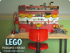 hanging lego storage My kids have never been lego fans, we don't even own any lego's at this point.  But this is such a cute storage idea.