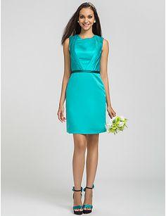 Sheath/Column Jewel Short/Mini Satin Bridesmaid Dress (605544) - USD $ 89.99