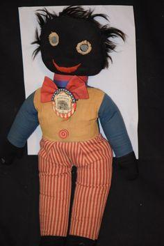 Antique Doll Black Cloth Unusual Raggedy Golliwog