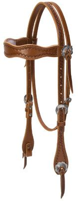 Hand Tooled Scalloped Browband Headstall