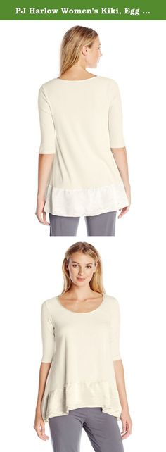 PJ Harlow Women's Kiki, Egg Nog, Large. The Kiki offers an a line shape for maximum flexibility with different body types. A high-low back creates a hip asymmetrical look. It is made of cotton spandex for an easy stretch and flexibility with size. Surround yourself in buttery softness when you put on your Kiki; this garment goes great with our jolie.