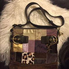 Authentic Coach Purse Bag Super cute patchwork bag .  Good condition very unique. Authentic Coach Bags Crossbody Bags