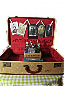 vintage photo display old suitcase displays old family photos