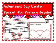 Need a quick and easy center rotation for Valentine's Day?  Here are 5  Valentine's Day themed centers to keep your students engaged and learning even amidst  Valentine's Day parties and valentine exchanges.  This packet includes: Happy Heart Patterns, Candy Comparisons, Sweet Treat Writing, Who's Your Valentine Writing and Valerie's Valentine Reading Comprehension. Download for $3.00.
