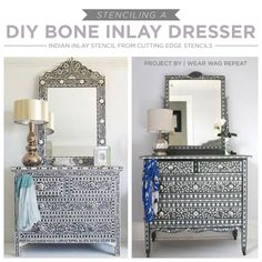 how to stencil a bone inlay dresser, diy, painted furniture, painting