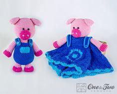 Combo Pack - Eddie the Piggy Lovey and Amigurumi Set for Dollars - PDF Crochet Pattern - Instan Crochet Lovey Free Pattern, Crochet Blanket Patterns, Crochet For Kids, Crochet Baby, Crochet Toys, Crochet Ideas, Rainbow Zebra, Lovey Blanket, Security Blanket
