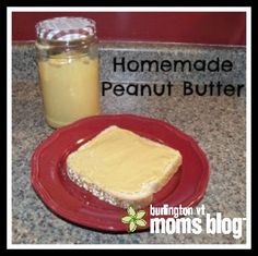 Super simple recipe for Homemade Peanut Butter- delicious and without all the bad stuff found in store bought peanut butters!