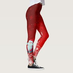 Santa red leggings - tap, personalize, buy right now! #cremescreations #leggings #snowflake #holidays #christmas Galaxy Leggings, Red Leggings, Cotton Leggings, Girls In Leggings, Leggings Fashion, Leggings Style, Best T Shirt Designs, Cool Designs, Cute Christmas Outfits