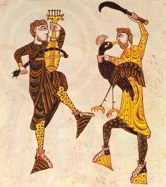 Two men dancing, one with a violin type instrument, the other holding a bird and brandishing a curved knife. Miniature. Spain, 1009 - Pinterest