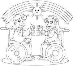discapacitados felices: Ilustración para colorear de niño sonriente y una niña en silla de ruedas Vectores