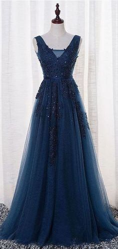 Elegant Prom Dress, Tulle Prom Dress, Appliques Beaded Prom Dress,A Line Prom Dress,Long Evening Dress,Formal Evening Gown