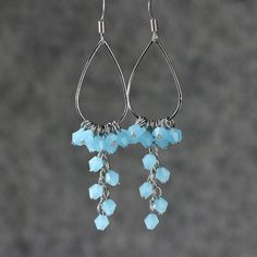 Teal large long chandelier hoop earrings handmade by AniDesignsllc