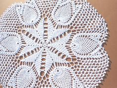 Handmade crochet doily color - white 100 % - cotton size - 16 inches ( 40 cm . ) in diameter