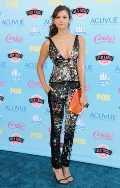 Pin for Later: 97 Reasons Why Nina Dobrev Will Be Just Fine Post-TVD  This girl knows how to rock a fun print. She wore a low-cut J. Mendel floral set to the 2013 Teen Choice Awards.
