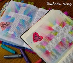 I've been bible journaling with my friend again and this is so fun to do together! Today we journaled John 3:16. We did a tape resist cross with gelatos- so fun and easy!  You can find all of my bible journaling resources here: http://ift.tt/1TpKLvy  #catholicbiblejournal #biblejournaling #biblejournalingcommunity #icolorinmybible #illustratedfaith #documentedfaith http://ift.tt/1KAavV3