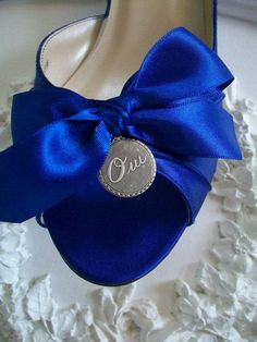 """Something blue"" wedding shoes with a oui charm"